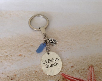 Nautical Silver Plated Life's a Beach Hand Stamped Word Disc Flipflop Charm Blue Seaglass Keyring