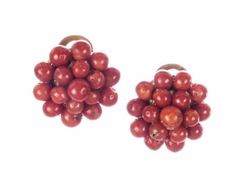 Red Coral Round Button Bead Earrings