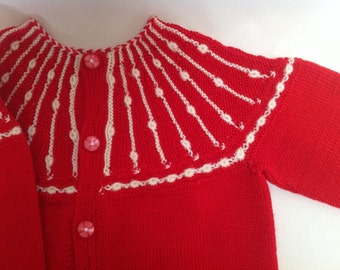 Vintage cotton knitted toddler's cardigan with original buttons.