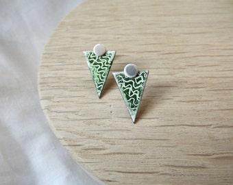 Small Green Triangle Earrings