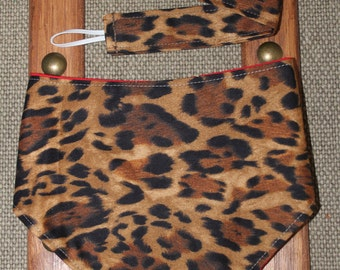 Bandana Bib & Pacifier Clip Combo Set Cheetah Leopard Animal Print Reversible with Red