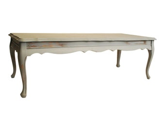Vintage Distressed COFFEE TABLE French Provincial wood shabby cottage chic BLUE Gray retro designer living room