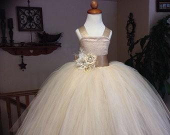 Elegant Champagne Flower Girl Tutu Dress