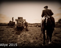 Farm Horse. Horse and Farmer watching the threshing, working horse - Vintage / retro style photograph -Allyephotography