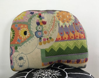 Vintage Embroidered Elephant Pillow