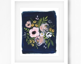 Navy and Blush Floral Print