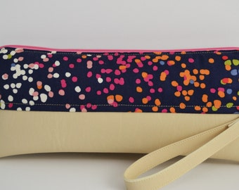 Multicolored and Beige Wristlet/Clutch