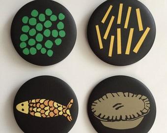 pie chips peas fish northern food fridge magnets