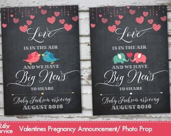 Valentines Pregnancy Announcement Valentines Pregnancy Photo Prop Chalkboard Announcement Pregnancy Reveal Valentines Baby