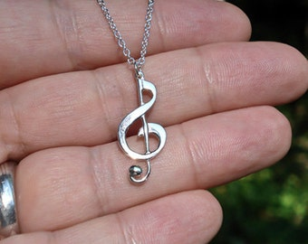 """G-Clef Musical Note Pendant - Sterling Silver Pendant on 18"""" Sterling Silver Chain - Item: MNP"""
