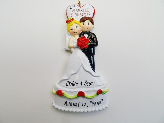Bride & Groom Christmas Ornament Personalized Wedding