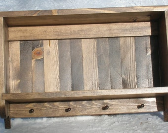 Wall hanging 2 shelf unit with 4 hanging pegs, walnut stained pine, rustic