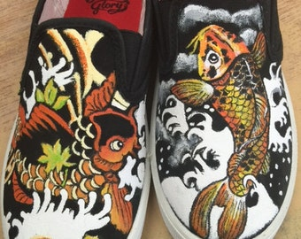 Custom painted shoes of Japanese Koi tattoo designs.