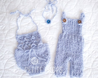 Ready to ship, Newborn Twin Set, 6-9 months Twin Set, Newborn Overalls, photography Props, Newborn  Boy, Newborn Girl, Handm