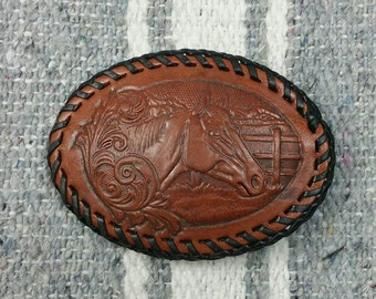 Vintage Hand Tooled Horse Mountain Scene Brown Leather Belt Buckle