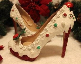 Red velvet Christmas cake heels