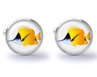 Tropical Fish Cufflinks - Angel Fish Cuff Links - Fish Cufflinks - Colorful Sealife Cuff Links (Pair) Lifetime Guarantee (S0424)