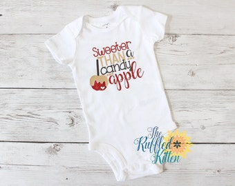 Sweeter Than A Candy Apple Bodysuit - Baby Outfit - Girl Outfit - Halloween - Fall - Candy Apple - Children's Shirt