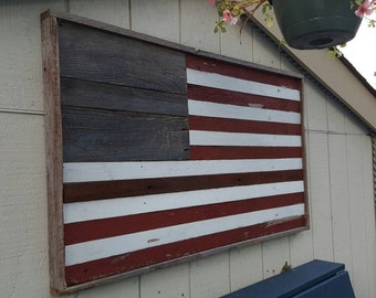Salvaged Barn wood American Flag