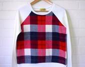 Sale! Sunday Picnic Sweater in UNBRUSHED COTTON/Plaid Tartan Flannelette Sweatshirt/Raglan Sweater/Fleece Jumper/Vintage Inspired