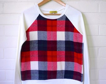 Sunday Picnic Sweater/Plaid Tartan Flannelette Organic Cotton Bamboo Fleece Sweatshirt/Raglan Sweater/Fleece Jumper/Vintage Inspired