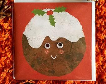 Christmas pudding google eyes greeting card