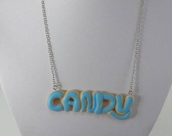 Collana scritta Candy in fimo