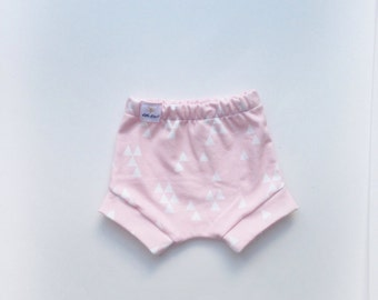 Pink and white triangle organic cotton knit baby girl bloomers