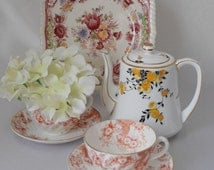 Fantastic Chintzy Tea Set with Hand Painted *Empire* Teapot, Victorian  Red Floral Cups and Johnson Brothers Cake Plate c 1900 - c 1940 s