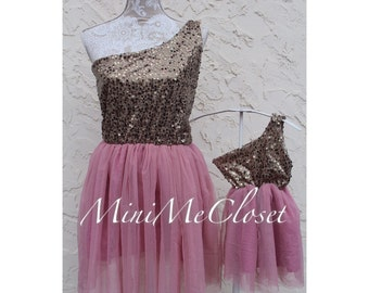 Matching Mother and Daughter Sparkly Gold and Old Rose  Tulle Dresses
