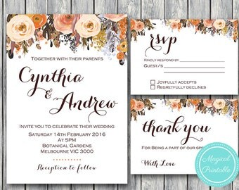 Fall Wedding Invitation Set, Wedding Invitation Printable, Bridal Shower, Baby Shower, Personalized, Wedding Invitation Suite wd82 WI19