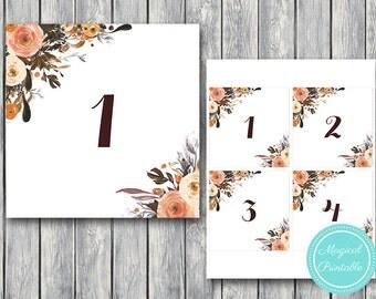 Autumn Fall Wedding Table Numbers Printable, DIY Table Number Sign, Wedding Table Numbers - Digital File, DIY Print wd95 TN08