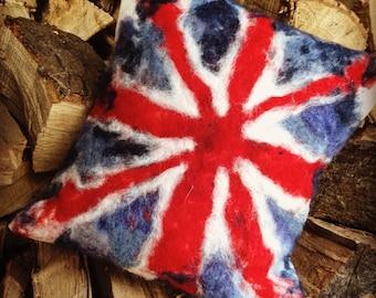 Handmade Wool Union Jack Cushion
