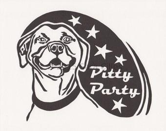 Smiling Pit Bull dog linocut print, original art