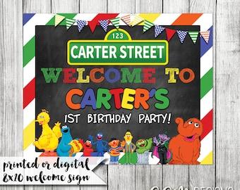 Sesame Street Welcome Sign, Sesame Street Birthday Sign, Sesame Street 8x10 sign, Sesame Street Birthday, Sesame Street Party Decoration