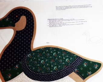Uncut Printed Fabric, screen print, The Calico Goose, for pillow or stuffed toy