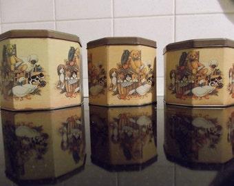 Set of three vintage tins
