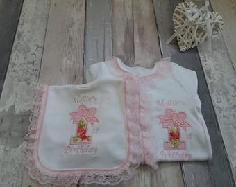 Lace Babygrow  & bib