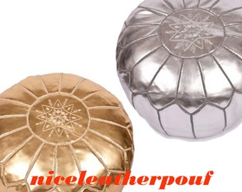 Set of 2 moroccan pouf Gold And Silver handmade ottoman foot stool anniversary gifts