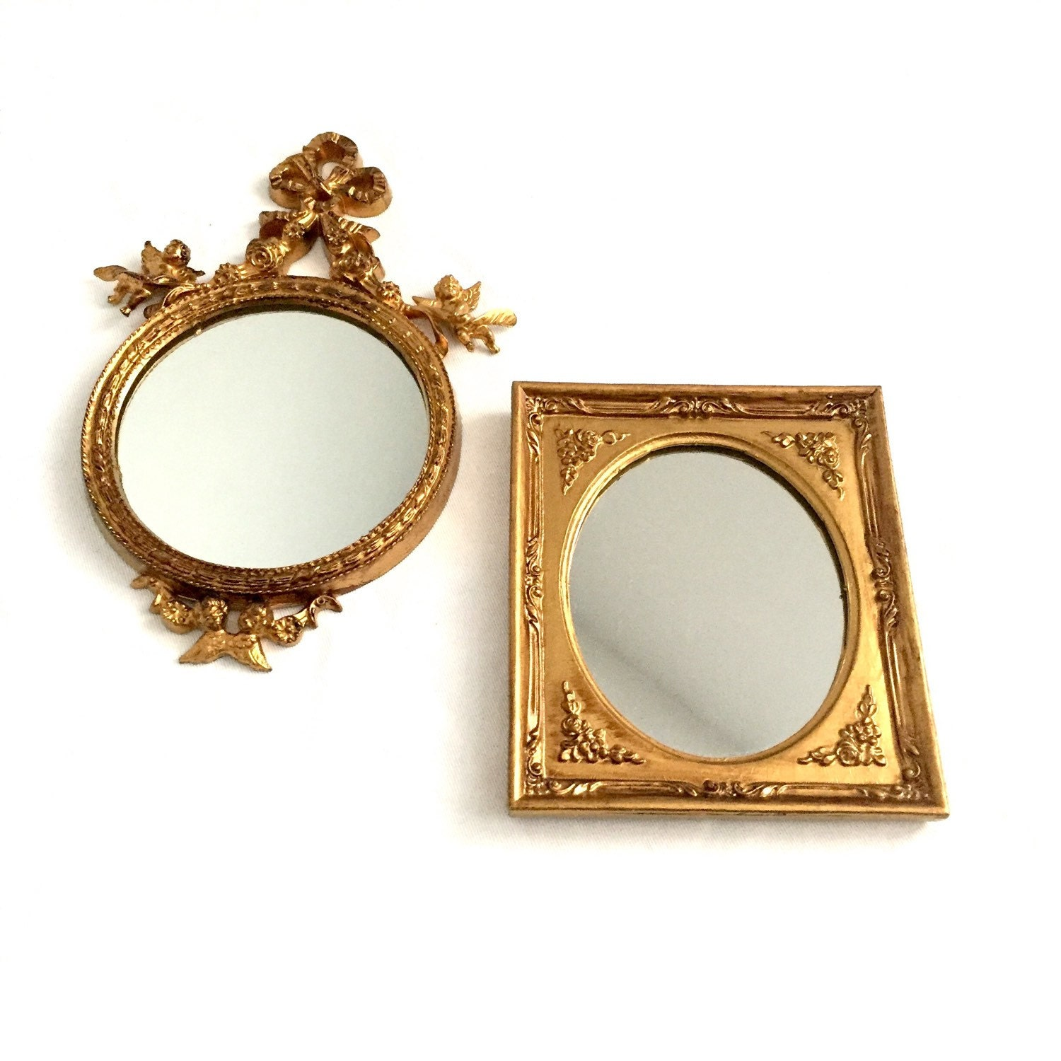 Set gold gilt small mirrrors round mirror hollywood regency for Small gold mirror