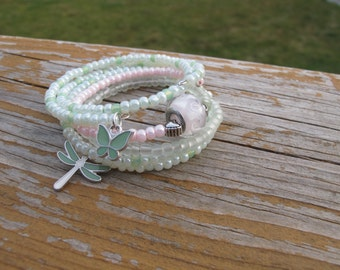 Summer stackable seed bead trio ~ sea green/light pink