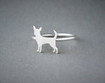 CHIHUAHUA RING / Chihuahua Ring / Silver Dog Ring / Dog Breed Ring / Silver, Gold Plated or Rose Plated.
