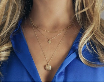 POPPY / kite necklace / diamond necklace / layering necklace / gold necklace / gold jewelry / simple necklace / minimalist