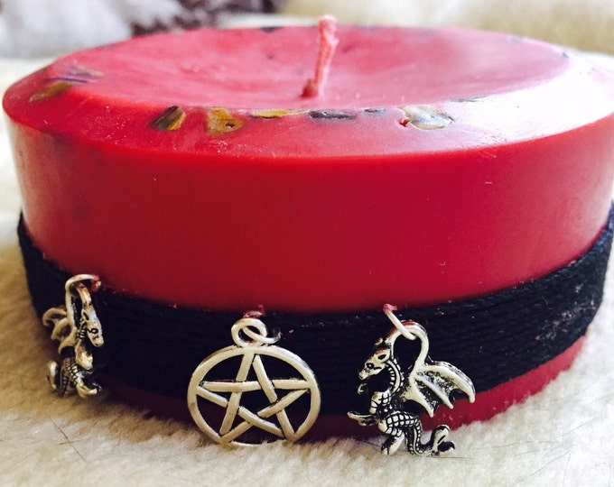 Spell Candle-Ritual Candle-dragon charm-cinnamon-scented soy candle w/spell-embedded w/Tigerseye-wrapped in hemp cord-binding spell