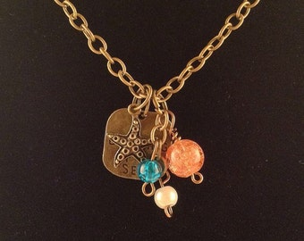 """Nautical charm necklace - Starfish charm necklace - """"Dreaming of the Sea"""" charm necklace with beads - Ocean themed charm necklace with beads"""