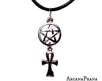 Pentacle/Pentagram Ankh Necklace /Goth/Wiccan/Pagan/Witch