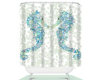 seahorse shower curtain, kids shower curtain, blue bathroom decor, childrens shower curtain, boys shower curtain, extra long shower curtain