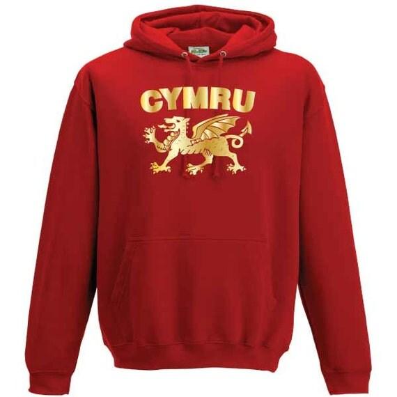 Cymru Dragon Wales Welsh Hooded Sweatshirt. Unisex Quality sweatshirt Xmas Christmas Present or Gift