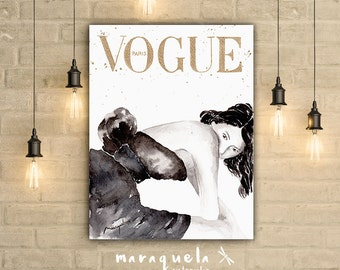 Original inspired by Vogue Cover Paris, Sofia Coppola. Handmade. Fashion art wall vogue. Art Vogue watercolor, Girls Room Decor, woman gift
