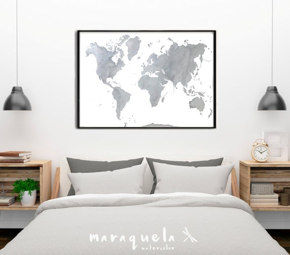 World map Gray with Silver highlights original watercolor Handmade. Large Wall art Watercolor Poster Home Decor Birthday gift Wedding gift